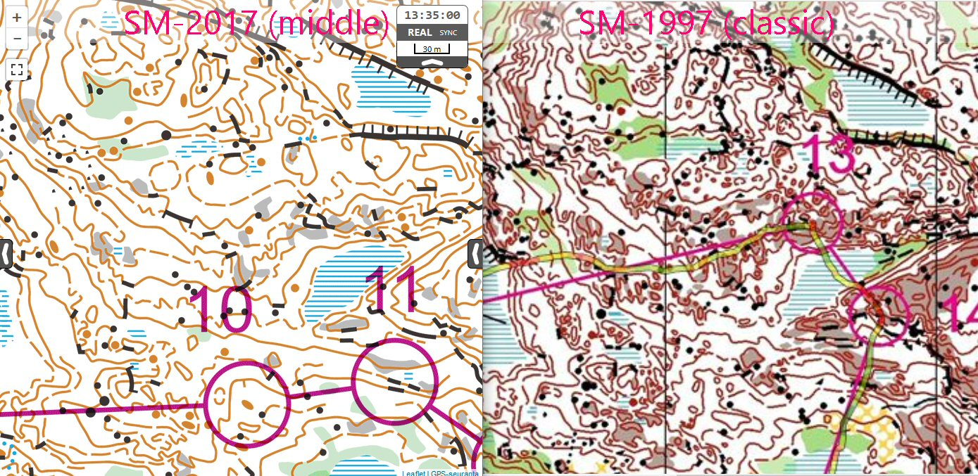 Isom 115 vs non isom maps attackpoint orienteering training here is interesting map comparison map of finnish middle champs 2017 and finnish classic champs 1997 twenty years between these maps biocorpaavc